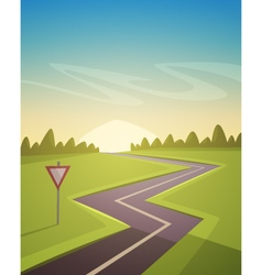 Asphalt road over field vector