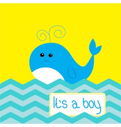 Baboy shower card with cute whale vector