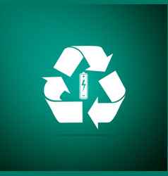 battery with recycle symbol renewable energy icon vector image