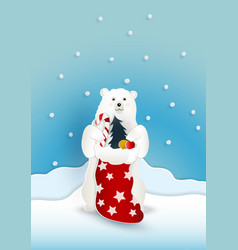 Bear with red present sack bag with snow falling vector