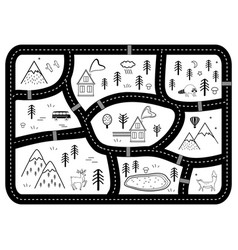 black and white kids road play mat river vector image