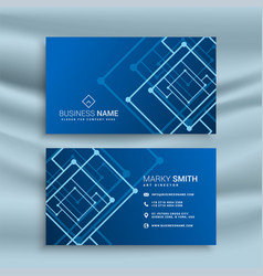 Blue abstract shape business card design vector