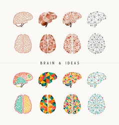 Brain and ideas icon set vector image