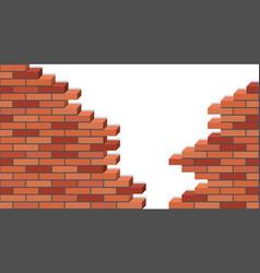 broken brick wakk 3d isometric view destroyed red vector image