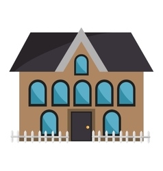 Brown house and coloful windows graphic vector