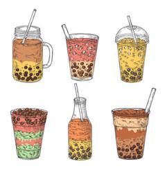 Bubble tea taiwan dessert cup fruit milk vector
