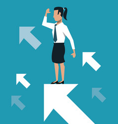 Business woman over progressive arrows vector