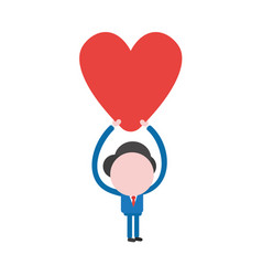 Businessman character holding up heart vector