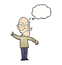 Cartoon old man telling story with thought bubble vector