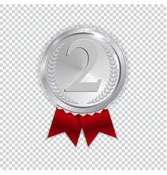 champion art silver medal with red ribbon icon vector image
