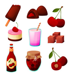 cherry food fruit products dessert sweets juice vector image