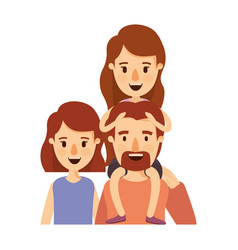 Colorful caricature half body big family parents vector