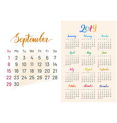 Colorful planner 2019 semptember separately vector