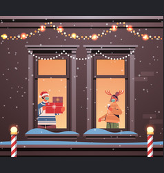 couple in masks standing in window frames new year vector image