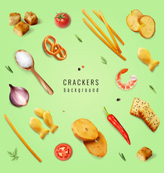 Crackers realistic background vector