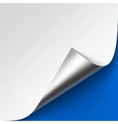 Curled Metalic Silver Corner on Blue Background vector image