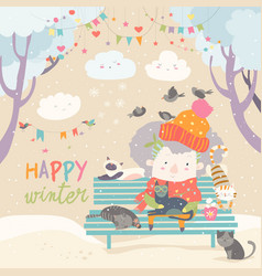 cute old woman with kitten and bird in winter park vector image