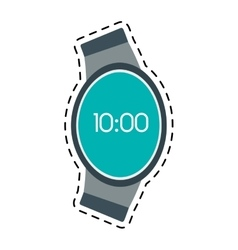 Digital smart watch time screen line vector