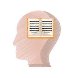 drawing profile head book knowledge vector image