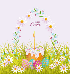 easter poster with eggs flowers cake vector image