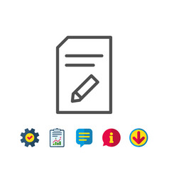 Edit document line icon file sign vector