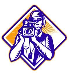 Film crew cameraman vector