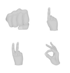 Fist okay victory hand gestures set collection vector