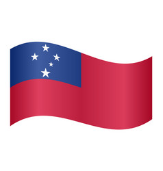 Flag of samoa waving on white background vector