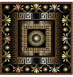 Floral 3d greek panel pattern ornate vector