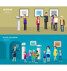 Funny character people in museum vector image