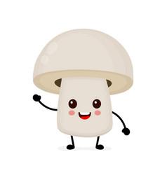 funny happy cute happy smiling mushroom vector image