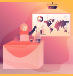 global business presentation woman female present vector image