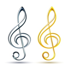 Gold and silver treble clef on white background vector