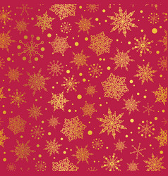 Golden and red snowflakes seamless repeat vector