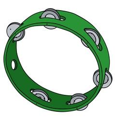 Green plastic tambourine vector image