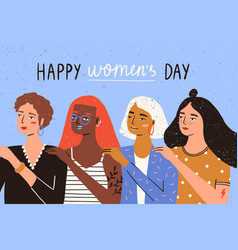greeting card template with happy women s day wish vector image