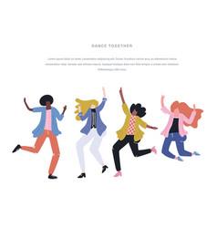 Happy dancing people vector