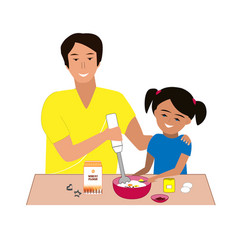 Happy father and doughter cutting cookies together vector