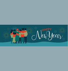 happy new year friend people group web banner vector image