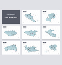 isometric maps set - america continent maps of vector image