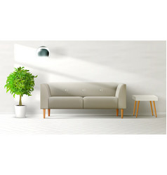 livingroom interior clean wall with grey sofa vector image