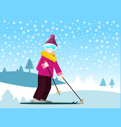 Man on ski with winter field with snowflakes on vector