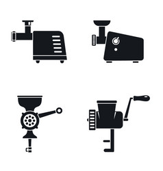 meat grinder machine icon set simple style vector image