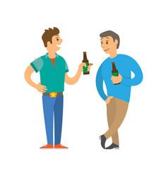 Men holding bottle beer disco club vector