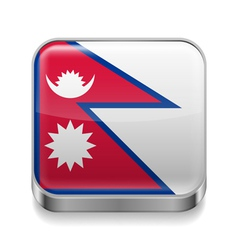 Metal icon of Nepal vector image