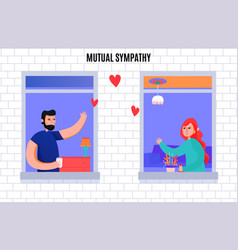 mutual sympathy neighbors windows vector image