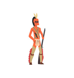 native american indian man in traditional clothes vector image
