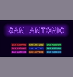 Neon name of san antonio city vector