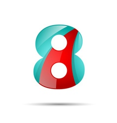 Number eight 8 colorful 3d volume icon design for vector