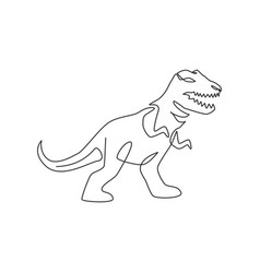 One continuous line drawing aggressive t-rex vector
